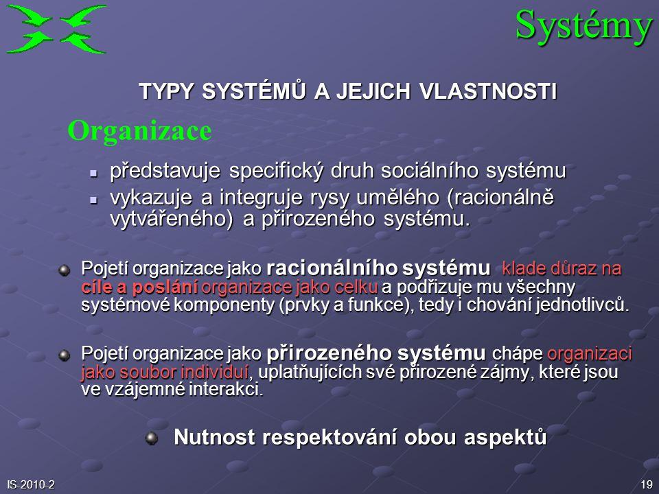 18IS-2010-2 S rostoucí úrovní systému stoupá i význam informací a mění se i jejich funkce a charakter. Na každý z vyšších typů systémů lze nahlížet po