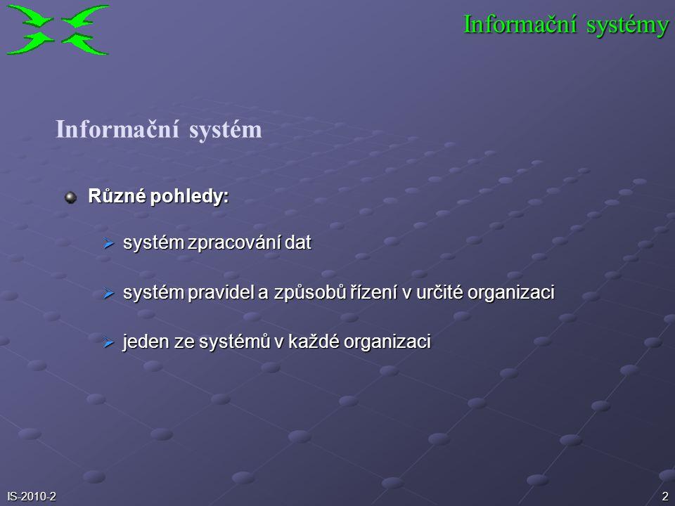 1IS-2010-2 Informační systémy TPS MIS EIS EDI OIS strategické řízení taktické řízení operativní řízení a provozu OIS Systém a informační systém Úvod d