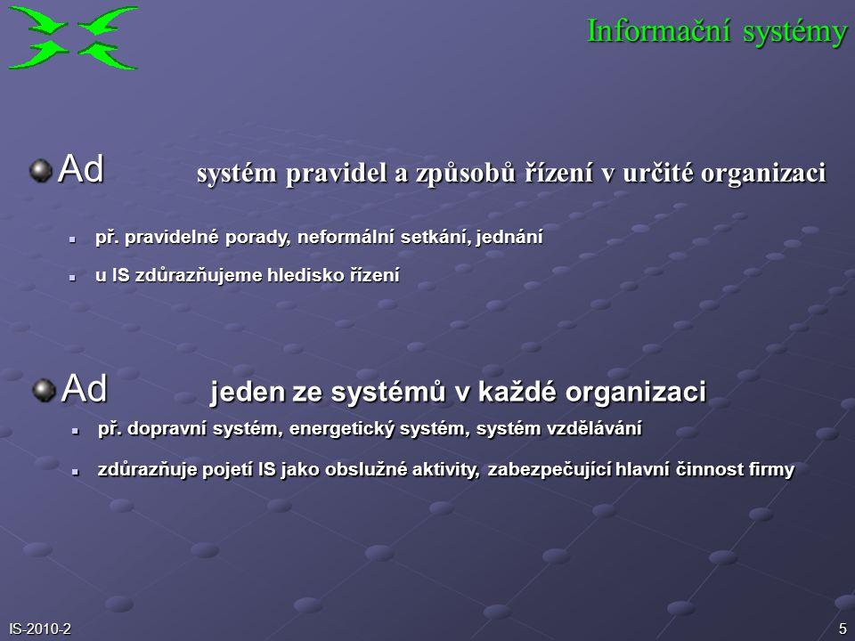 4IS-2010-2 pořízení datuchování dat zpracování dat prezentace dat přenos Ad IS jako systém zpracování dat Informační systémy