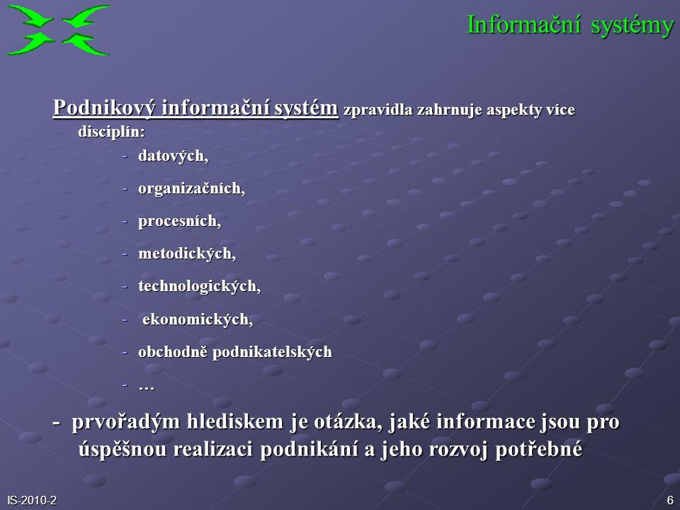 5IS-2010-2 Ad systém pravidel a způsobů řízení v určité organizaci Ad jeden ze systémů v každé organizaci př. dopravní systém, energetický systém, sys