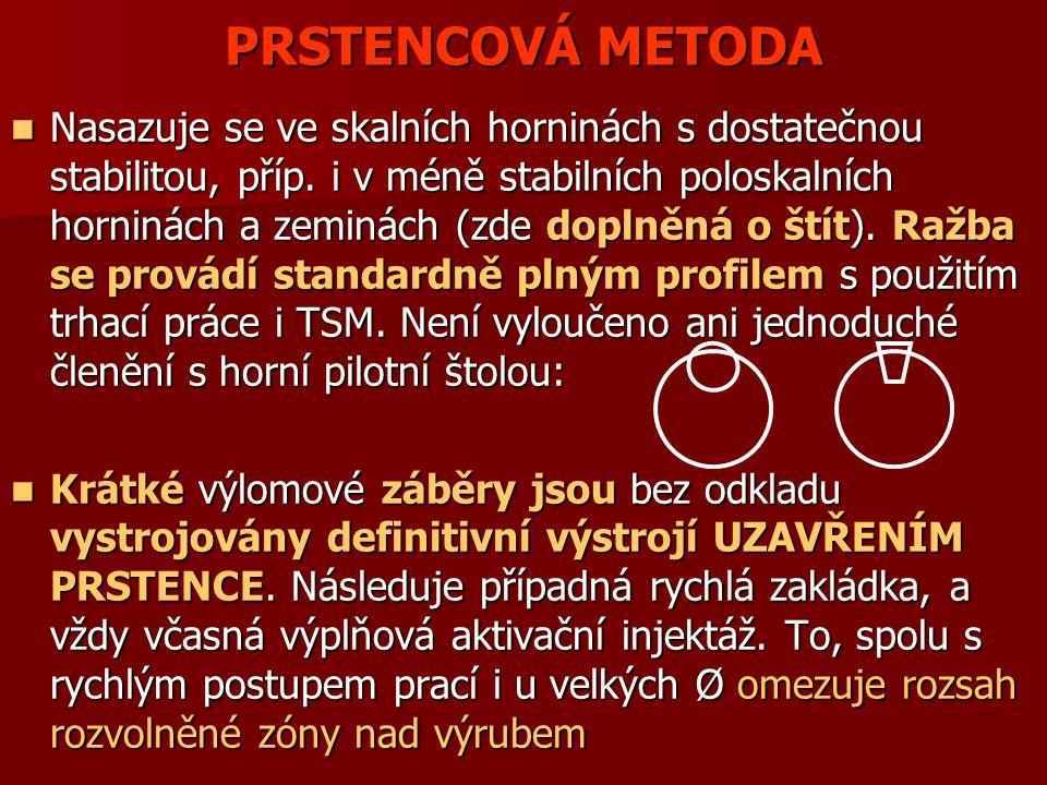 PRSTENCOVÁ METODA Nasazuje se ve skalních horninách s dostatečnou stabilitou, příp. i v méně stabilních poloskalních horninách a zeminách (zde doplněn