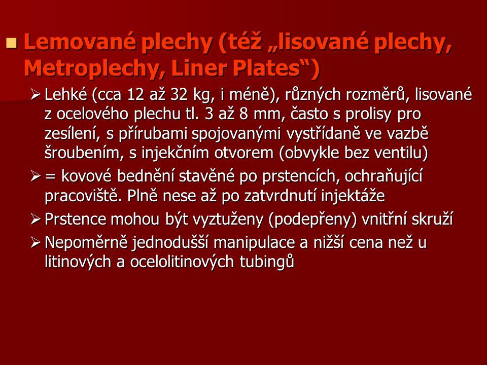 """Lemované plechy (též """"lisované plechy, Metroplechy, Liner Plates"""") Lemované plechy (též """"lisované plechy, Metroplechy, Liner Plates"""")  Lehké (cca 12"""