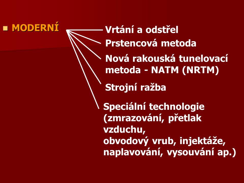 MODERNÍ MODERNÍ Prstencová metoda Vrtání a odstřel Strojní ražba Nová rakouská tunelovací metoda - NATM (NRTM) Speciální technologie (zmrazování, přet