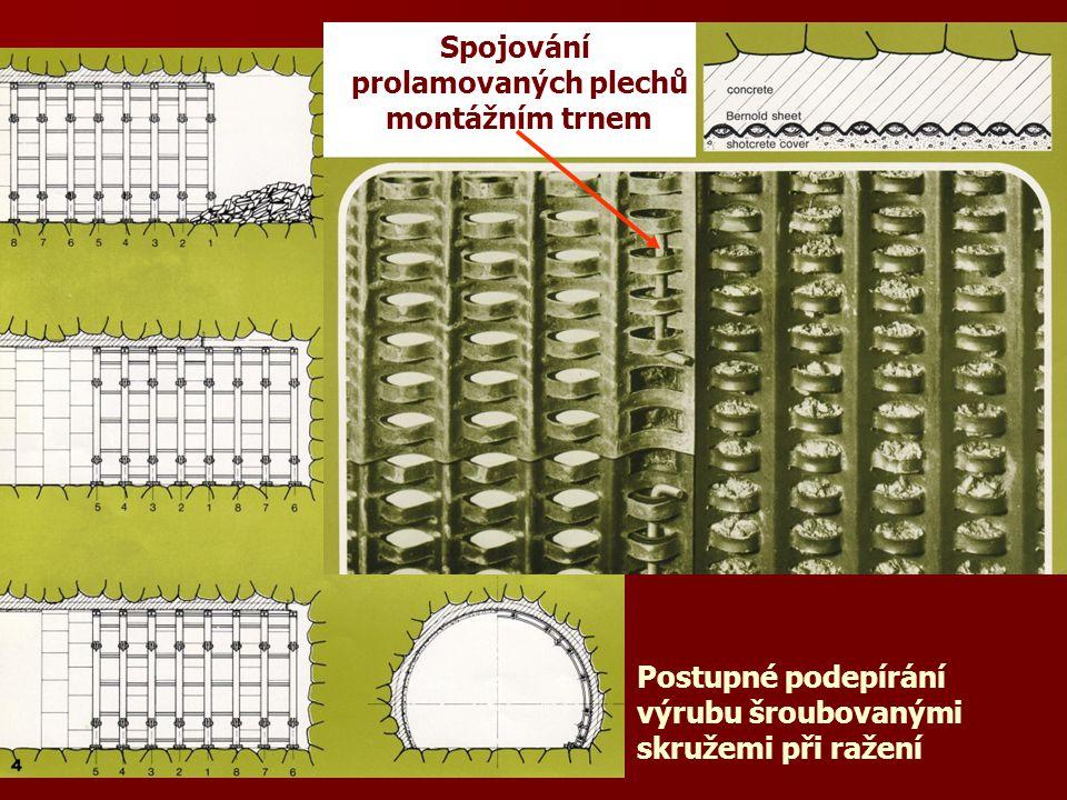 Spojování prolamovaných plechů montážním trnem Postupné podepírání výrubu šroubovanými skružemi při ražení