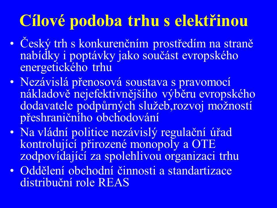 Cílové podoba trhu s elektřinou Český trh s konkurenčním prostředím na straně nabídky i poptávky jako součást evropského energetického trhu Nezávislá
