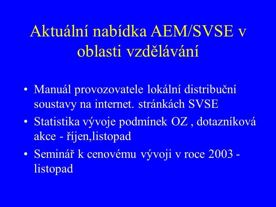 Aktuální nabídka AEM/SVSE v oblasti vzdělávání Manuál provozovatele lokální distribuční soustavy na internet. stránkách SVSE Statistika vývoje podmíne