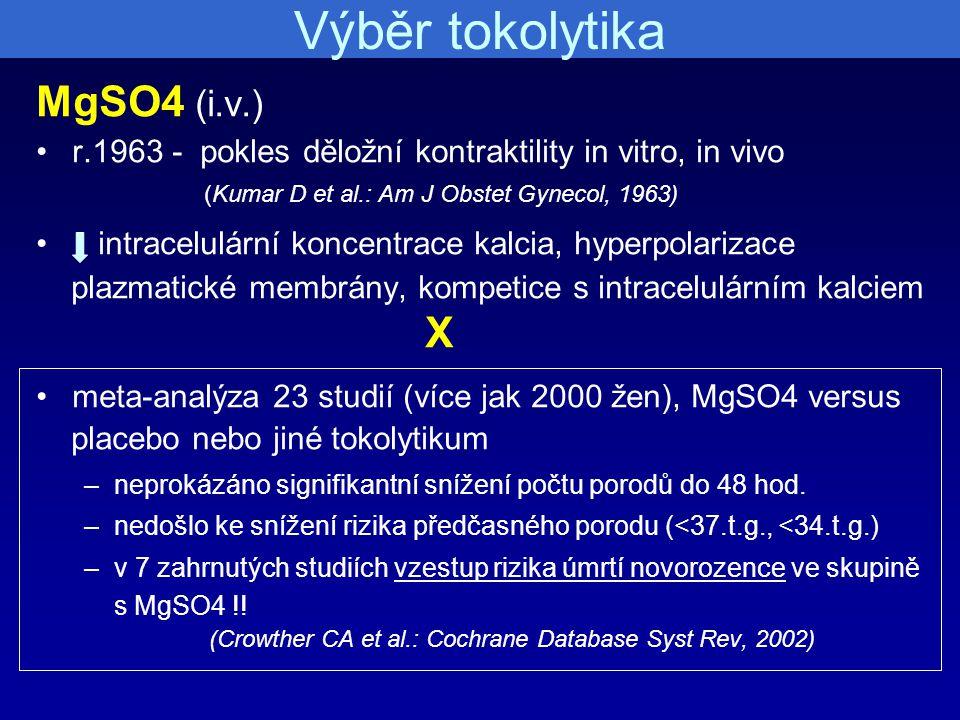 Výběr tokolytika MgSO4 (i.v.) r.1963 - pokles děložní kontraktility in vitro, in vivo (Kumar D et al.: Am J Obstet Gynecol, 1963) intracelulární konce