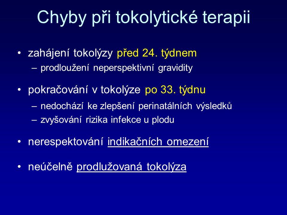 Chyby při tokolytické terapii zahájení tokolýzy před 24. týdnem –prodloužení neperspektivní gravidity pokračování v tokolýze po 33. týdnu –nedochází k