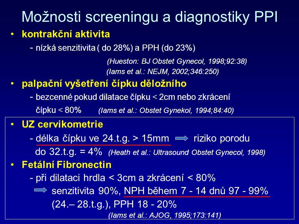 Možnosti screeningu a diagnostiky PPI kontrakční aktivita - nízká senzitivita ( do 28%) a PPH (do 23%) (Hueston: BJ Obstet Gynecol, 1998;92:38) (Iams