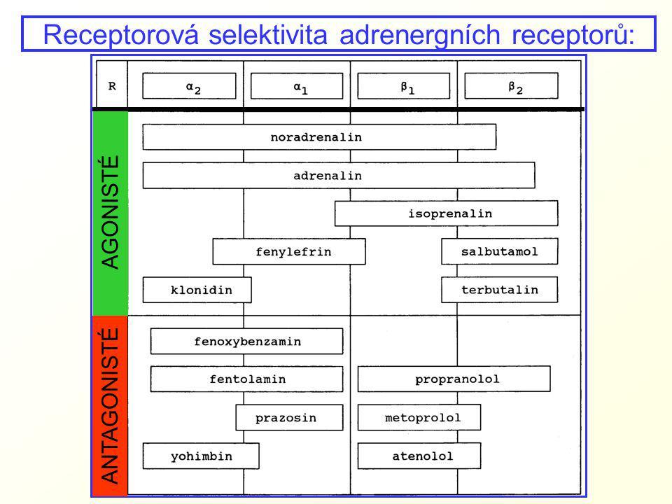Receptorová selektivita adrenergních receptorů: AGONISTÉ ANTAGONISTÉ
