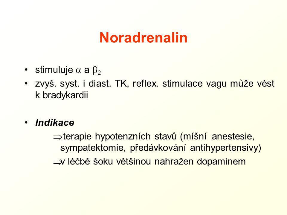 Noradrenalin stimuluje  a  2 zvyš. syst. i diast. TK, reflex. stimulace vagu může vést k bradykardii Indikace  terapie hypotenzních stavů (míšní an