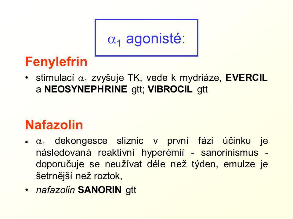Fenylefrin stimulací  1 zvyšuje TK, vede k mydriáze, EVERCIL a NEOSYNEPHRINE gtt; VIBROCIL gtt Nafazolin   1 dekongesce sliznic v první fázi účinku