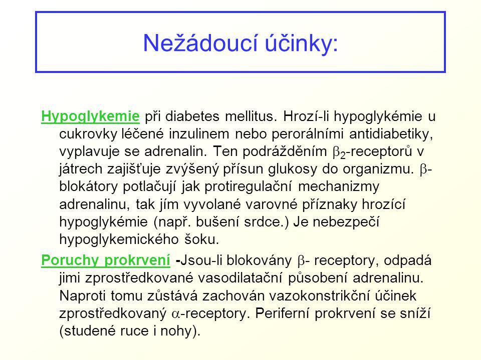 Nežádoucí účinky: Hypoglykemie při diabetes mellitus. Hrozí-li hypoglykémie u cukrovky léčené inzulinem nebo perorálními antidiabetiky, vyplavuje se a