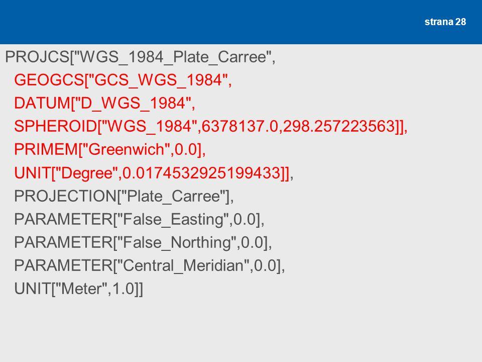 WGS 1984, plate carre (ESRI.prj) PROJCS[