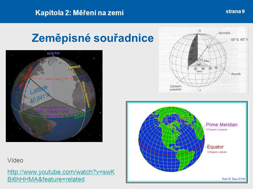 strana 9 Zeměpisné souřadnice Kapitola 2: Měření na zemi Video http://www.youtube.com/watch?v=swK Bi6hHHMA&feature=related