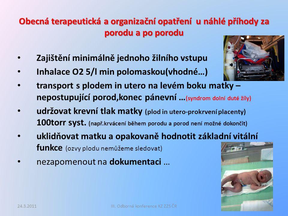 Obecná terapeutická a organizační opatření u náhlé příhody za porodu a po porodu Zajištění minimálně jednoho žilního vstupu Inhalace O2 5/l min poloma