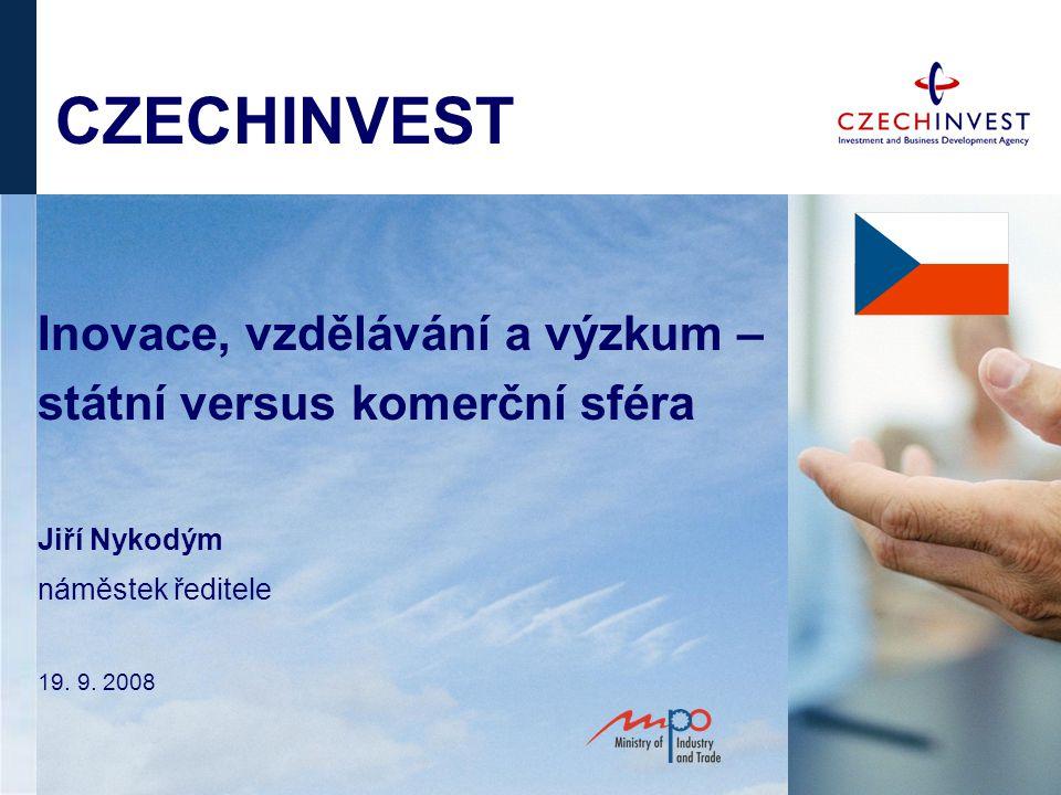 CZECHINVEST Inovace, vzdělávání a výzkum – státní versus komerční sféra Jiří Nykodým náměstek ředitele 19.