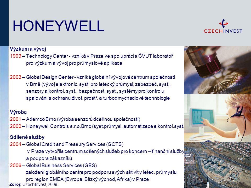 HONEYWELL Výzkum a vývoj 1993 – Technology Center - vzniká v Praze ve spolupráci s ČVUT laboratoř pro výzkum a vývoj pro průmyslové aplikace 2003 – Global Design Center - vzniká globální vývojové centrum společnosti v Brně (vývoj elektronic.