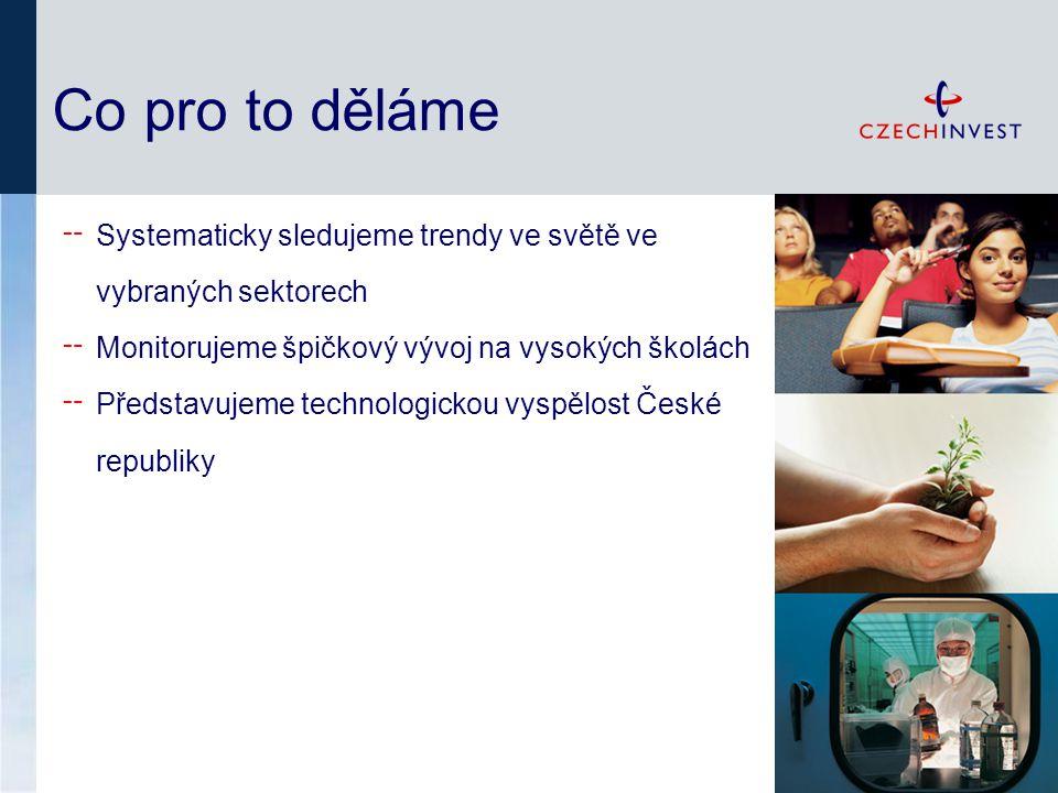 Co pro to děláme ╌ Systematicky sledujeme trendy ve světě ve vybraných sektorech ╌ Monitorujeme špičkový vývoj na vysokých školách ╌ Představujeme technologickou vyspělost České republiky