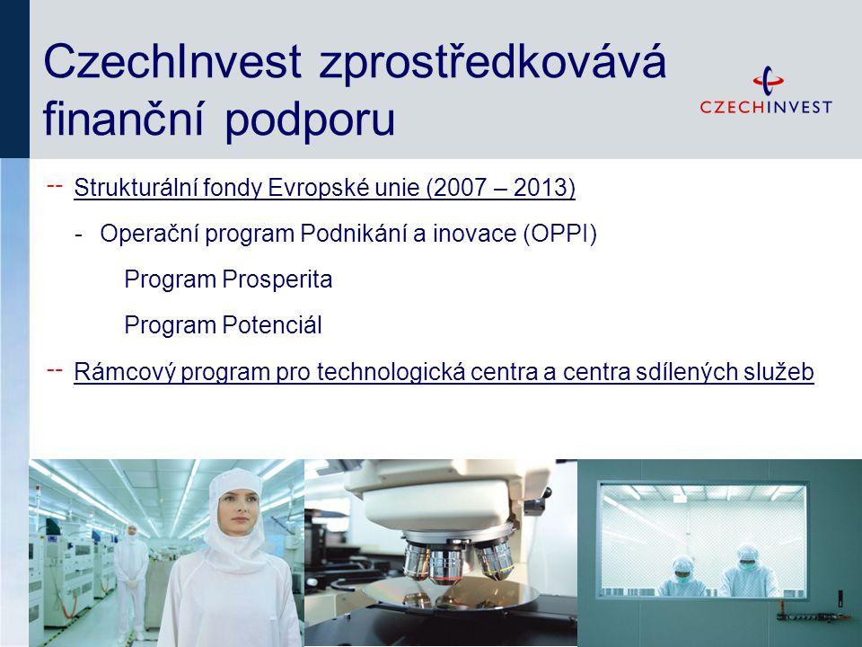 CzechInvest zprostředkovává finanční podporu ╌ Strukturální fondy Evropské unie (2007 – 2013) -Operační program Podnikání a inovace (OPPI) Program Prosperita Program Potenciál ╌ Rámcový program pro technologická centra a centra sdílených služeb