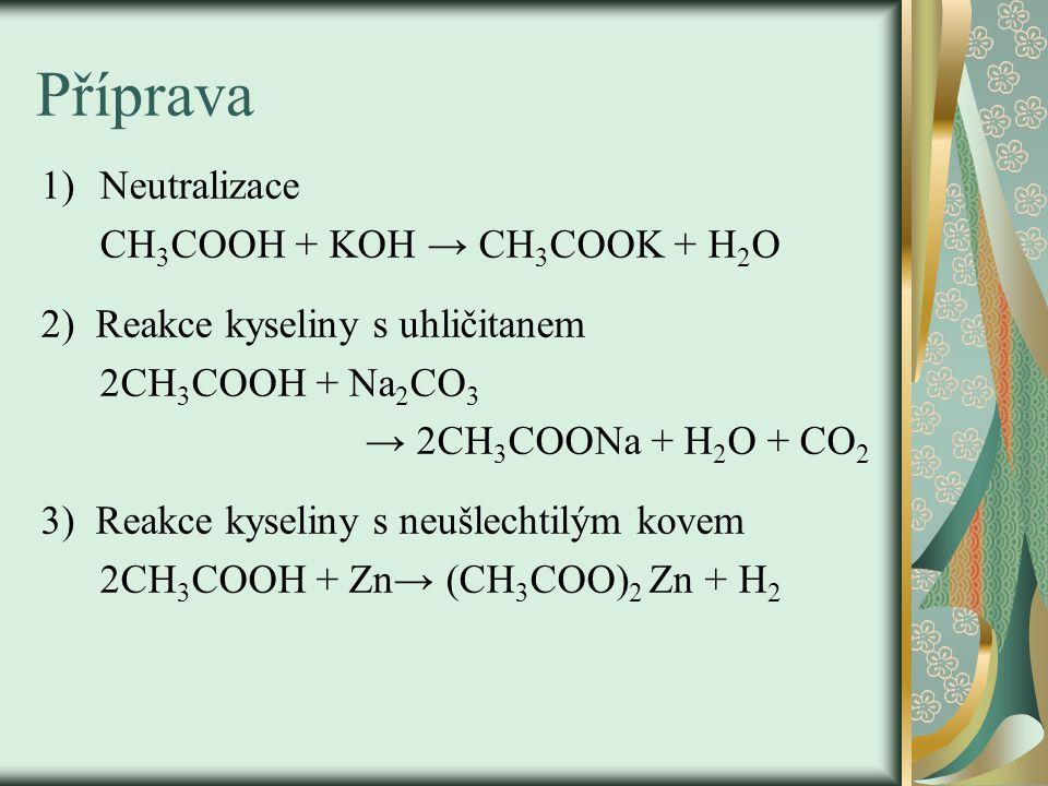 Příprava 1)Neutralizace CH 3 COOH + KOH → CH 3 COOK + H 2 O 2) Reakce kyseliny s uhličitanem 2CH 3 COOH + Na 2 CO 3 → 2CH 3 COONa + H 2 O + CO 2 3) Reakce kyseliny s neušlechtilým kovem 2CH 3 COOH + Zn→ (CH 3 COO) 2 Zn + H 2