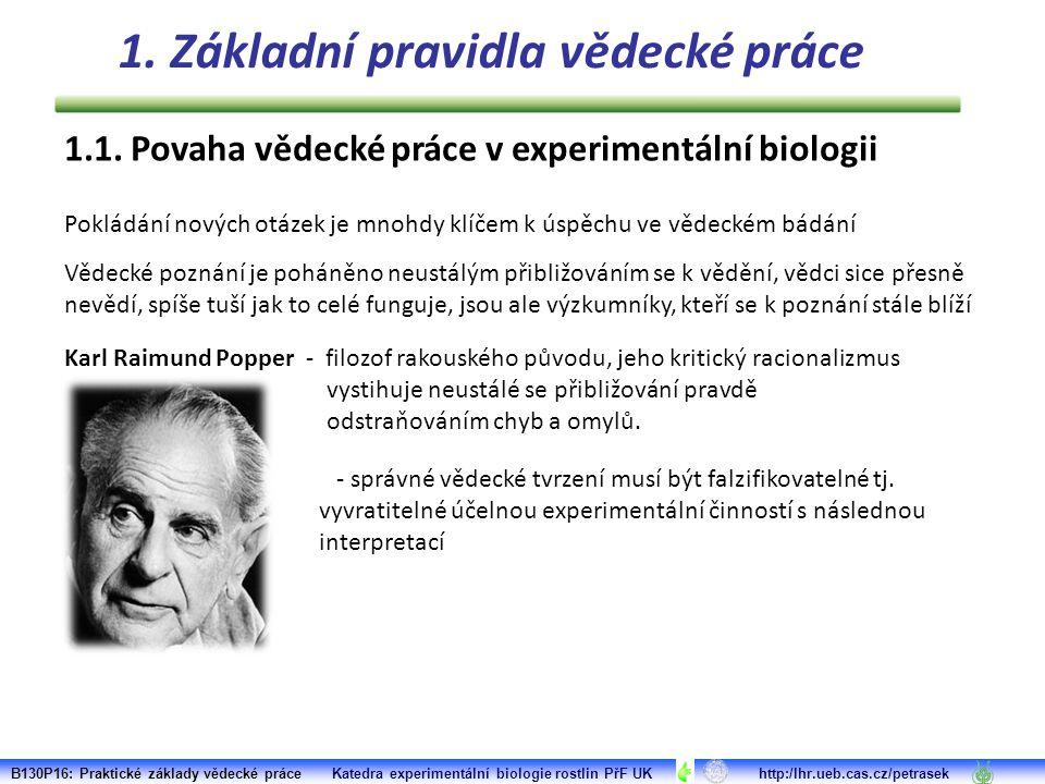 1.1. Povaha vědecké práce v experimentální biologii Pokládání nových otázek je mnohdy klíčem k úspěchu ve vědeckém bádání Vědecké poznání je poháněno