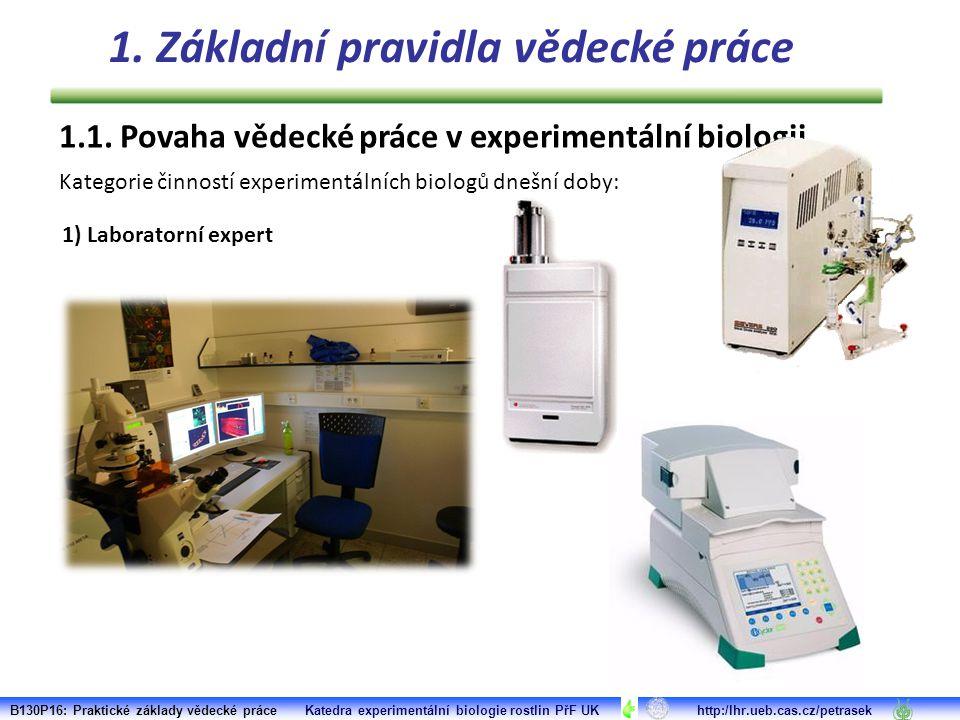 1.1. Povaha vědecké práce v experimentální biologii Kategorie činností experimentálních biologů dnešní doby: 1) Laboratorní expert B130P16: Praktické