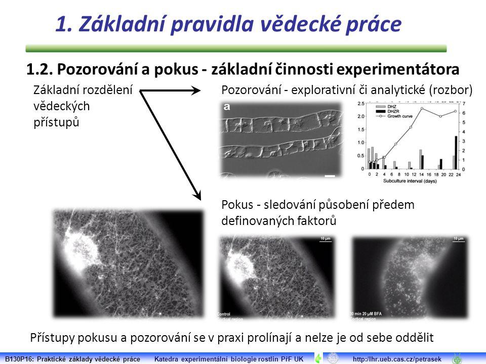 1.2. Pozorování a pokus - základní činnosti experimentátora Přístupy pokusu a pozorování se v praxi prolínají a nelze je od sebe oddělit Základní rozd