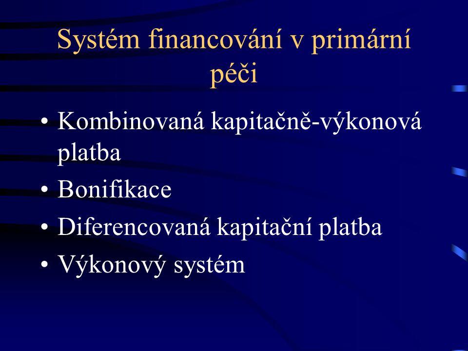 Systém financování v primární péči Kombinovaná kapitačně-výkonová platba Bonifikace Diferencovaná kapitační platba Výkonový systém