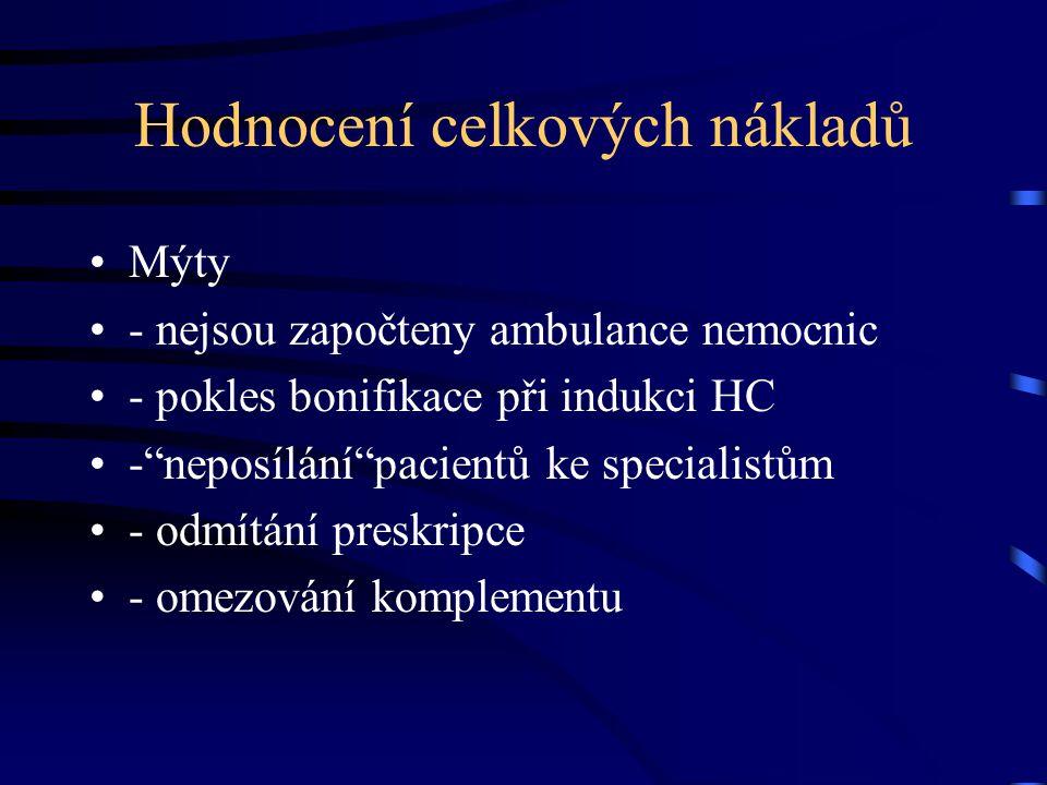 Hodnocení celkových nákladů Mýty - nejsou započteny ambulance nemocnic - pokles bonifikace při indukci HC - neposílání pacientů ke specialistům - odmítání preskripce - omezování komplementu