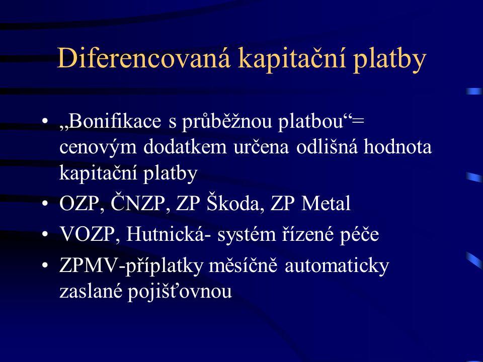 """Diferencovaná kapitační platby """"Bonifikace s průběžnou platbou = cenovým dodatkem určena odlišná hodnota kapitační platby OZP, ČNZP, ZP Škoda, ZP Metal VOZP, Hutnická- systém řízené péče ZPMV-příplatky měsíčně automaticky zaslané pojišťovnou"""