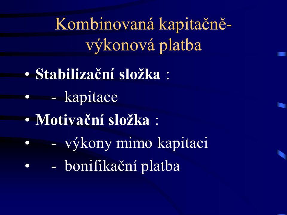 Kombinovaná kapitačně- výkonová platba Stabilizační složka : - kapitace Motivační složka : - výkony mimo kapitaci - bonifikační platba