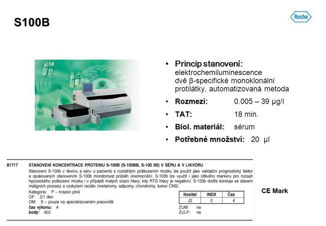 S100B Princip stanovení:Princip stanovení: elektrochemiluminescence dvě β-specifické monoklonální protilátky, automatizovaná metoda Rozmezí:Rozmezí: 0