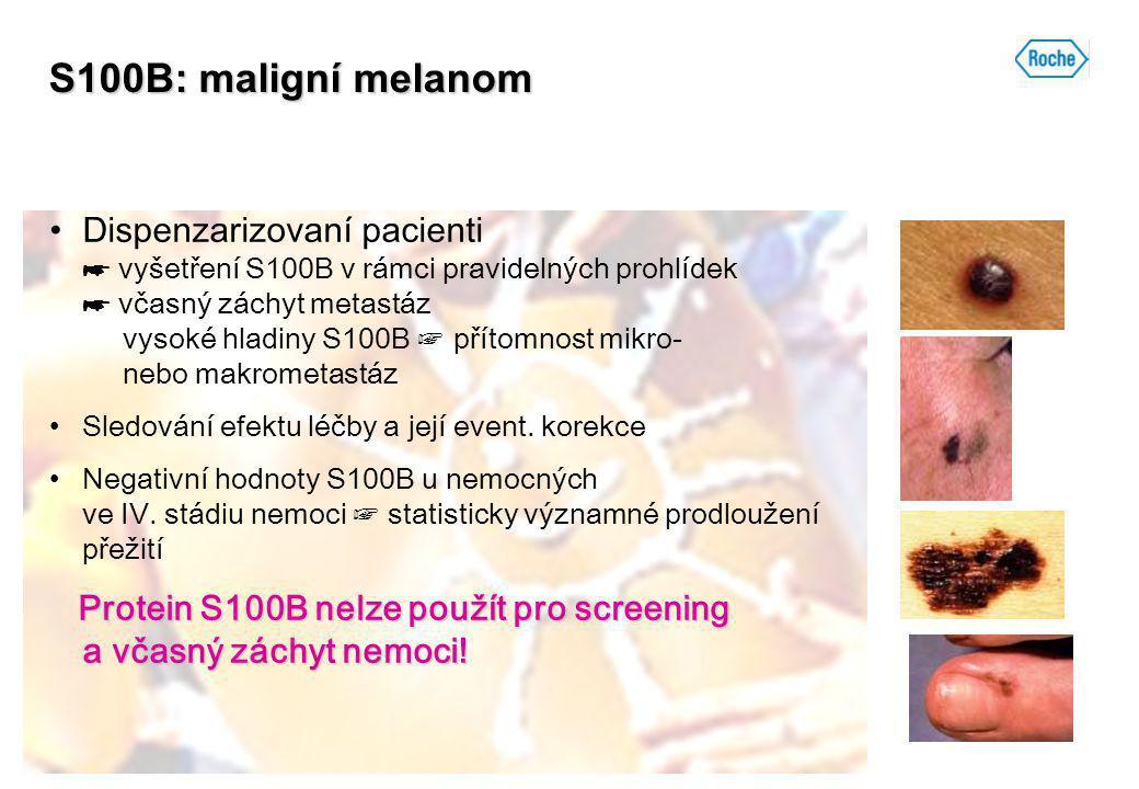 S100B: maligní melanom Dispenzarizovaní pacienti ☛ vyšetření S100B v rámci pravidelných prohlídek ☛ včasný záchyt metastáz vysoké hladiny S100B ☞ přít
