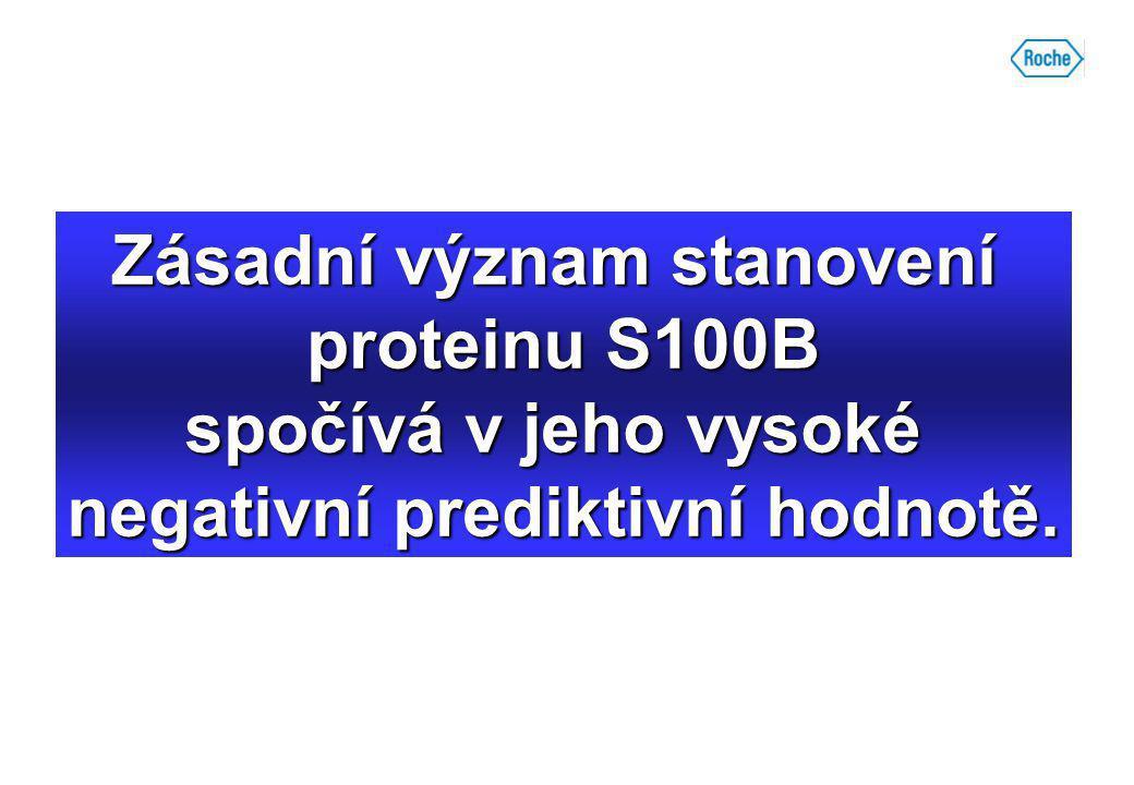 Zásadní význam stanovení proteinu S100B spočívá v jeho vysoké negativní prediktivní hodnotě.