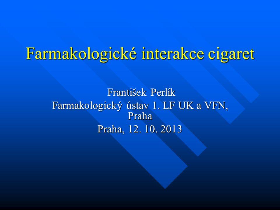 Interakce nikotinu vyvolaná stimulací CYP2A6 JM Williams 2010 karbamazepin a oxykarbamazepin zvyšují metabolismus nikotinu karbamazepin a oxykarbamazepin zvyšují metabolismus nikotinu nemocní s bipolární afektivní poruchou a schizofrenici mají zvýšenou spotřebu cigaret nemocní s bipolární afektivní poruchou a schizofrenici mají zvýšenou spotřebu cigaret (indukční mechanismus se neuplatňuje u valproatu) (indukční mechanismus se neuplatňuje u valproatu)