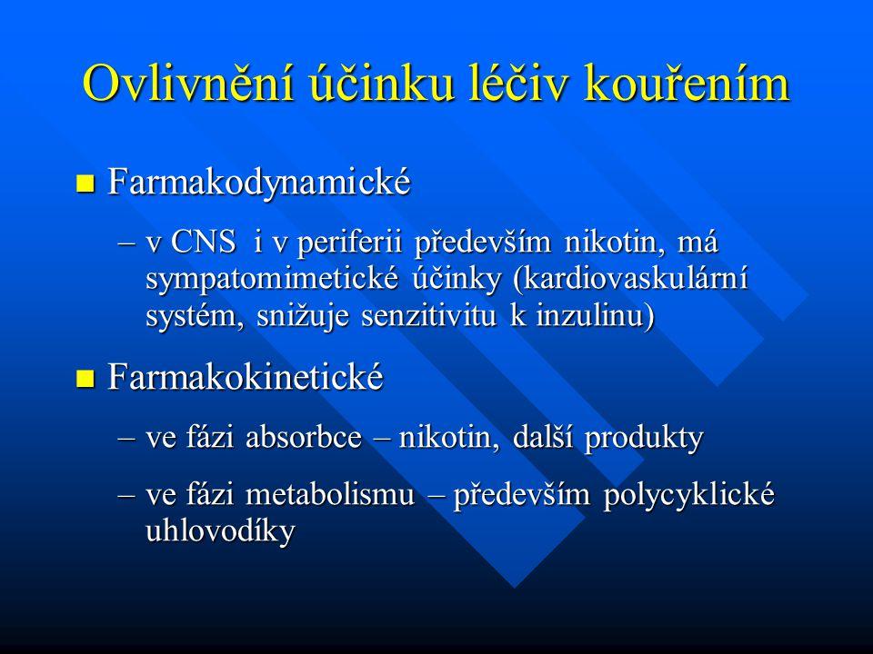Ovlivnění účinku léčiv kouřením Farmakodynamické Farmakodynamické –v CNS i v periferii především nikotin, má sympatomimetické účinky (kardiovaskulární