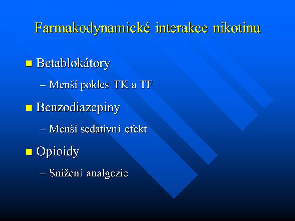 Farmakodynamické interakce nikotinu Betablokátory Betablokátory –Menší pokles TK a TF Benzodiazepiny Benzodiazepiny –Menší sedativní efekt Opioidy Opi