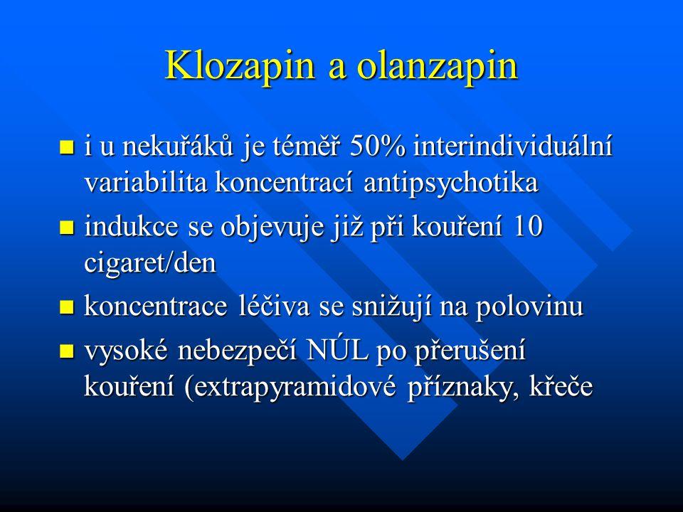 Klozapin a olanzapin i u nekuřáků je téměř 50% interindividuální variabilita koncentrací antipsychotika i u nekuřáků je téměř 50% interindividuální va