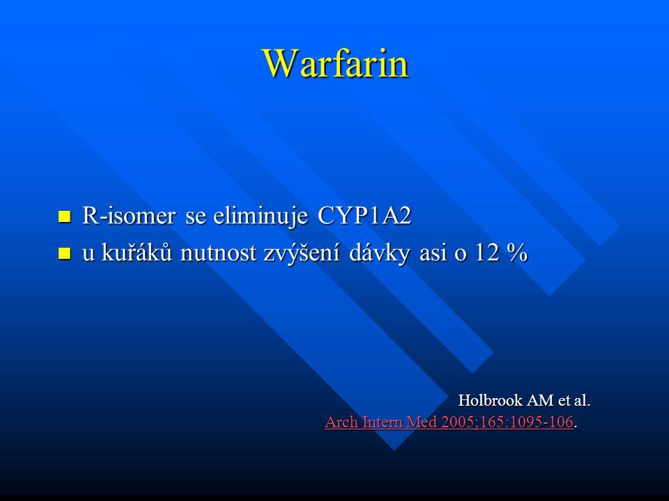 Warfarin R-isomer se eliminuje CYP1A2 R-isomer se eliminuje CYP1A2 u kuřáků nutnost zvýšení dávky asi o 12 % u kuřáků nutnost zvýšení dávky asi o 12 %