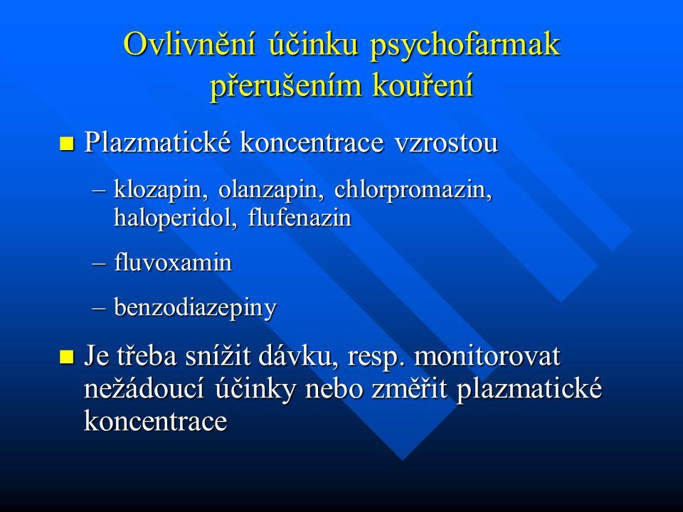 Ovlivnění účinku psychofarmak přerušením kouření Plazmatické koncentrace vzrostou Plazmatické koncentrace vzrostou –klozapin, olanzapin, chlorpromazin