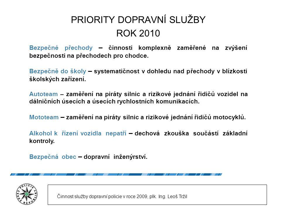 PRIORITY DOPRAVNÍ SLUŽBY ROK 2010 Činnost služby dopravní policie v roce 2009, plk.