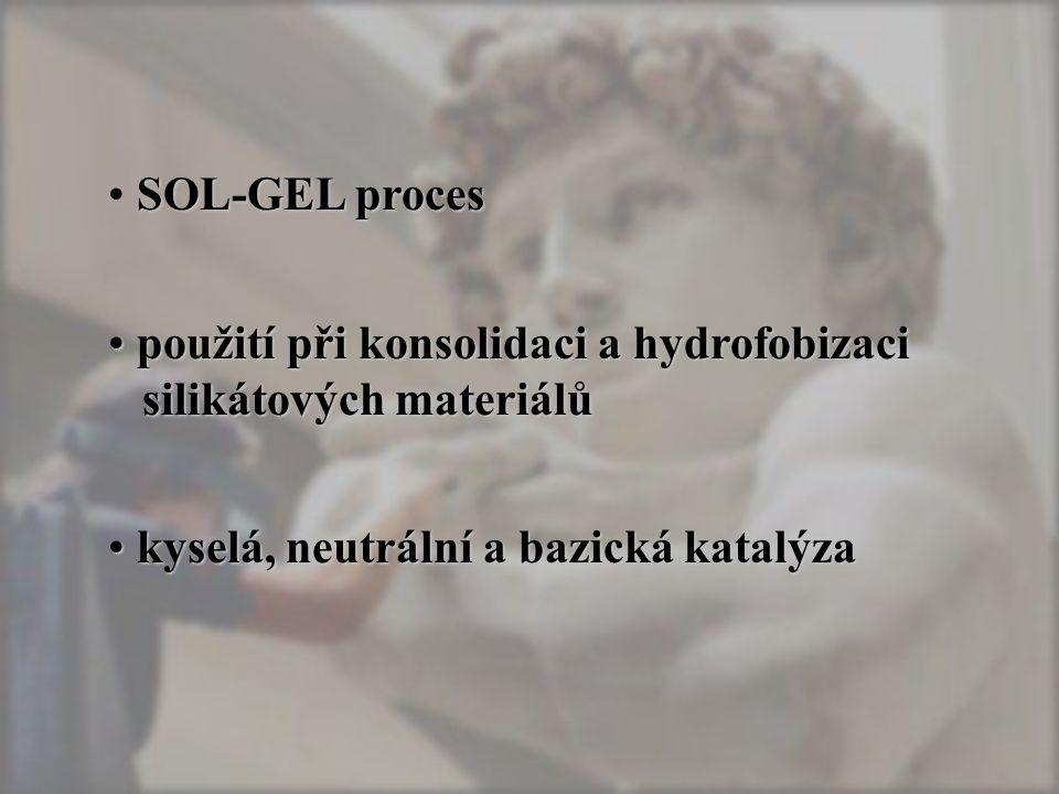 SOL-GEL proces použití při konsolidaci a hydrofobizaci silikátových materiálů použití při konsolidaci a hydrofobizaci silikátových materiálů kyselá, neutrální a bazická katalýza kyselá, neutrální a bazická katalýza