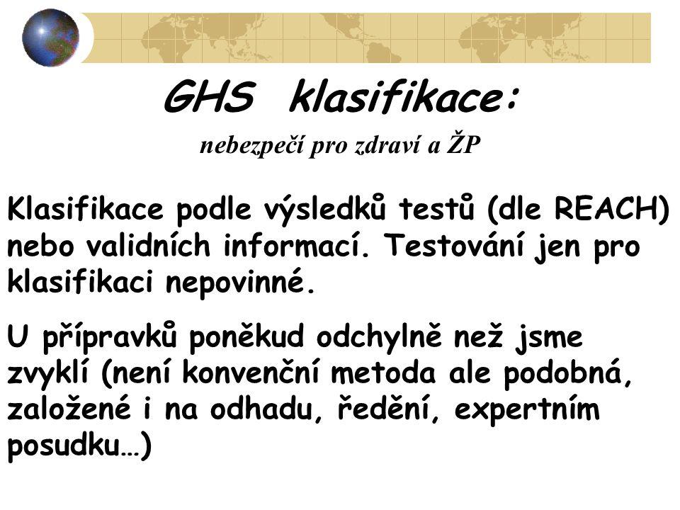 GHS klasifikace: nebezpečí pro zdraví a ŽP Klasifikace podle výsledků testů (dle REACH) nebo validních informací. Testování jen pro klasifikaci nepovi