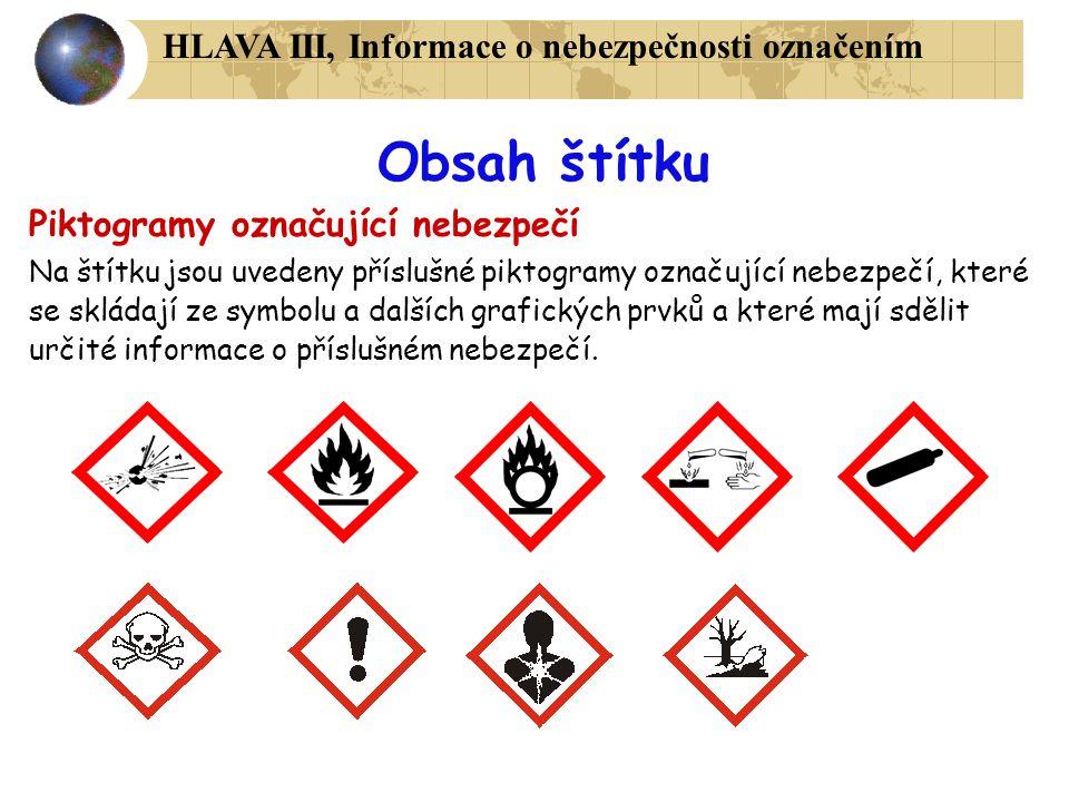 Obsah štítku Piktogramy označující nebezpečí Na štítku jsou uvedeny příslušné piktogramy označující nebezpečí, které se skládají ze symbolu a dalších