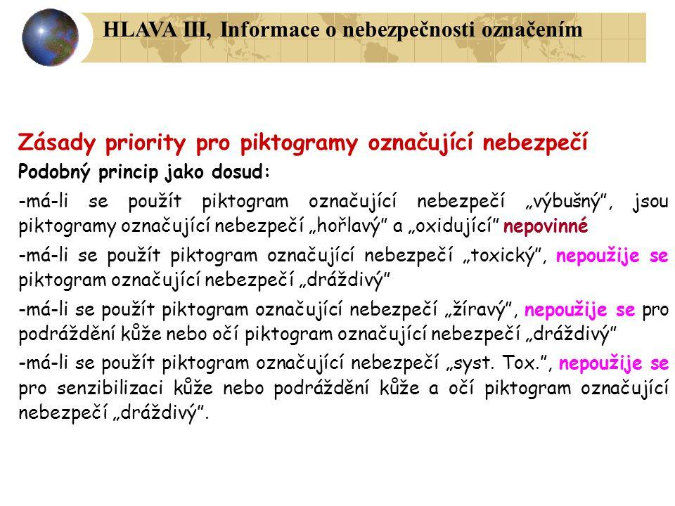 """Zásady priority pro piktogramy označující nebezpečí Podobný princip jako dosud: -má-li se použít piktogram označující nebezpečí """"výbušný"""", jsou piktog"""