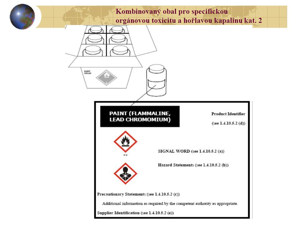 Kombinovaný obal pro specifickou orgánovou toxicitu a hořlavou kapalinu kat. 2
