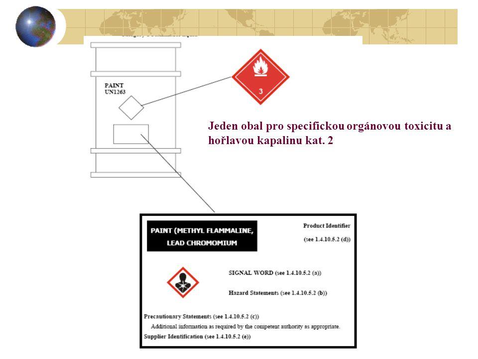 Jeden obal pro specifickou orgánovou toxicitu a hořlavou kapalinu kat. 2