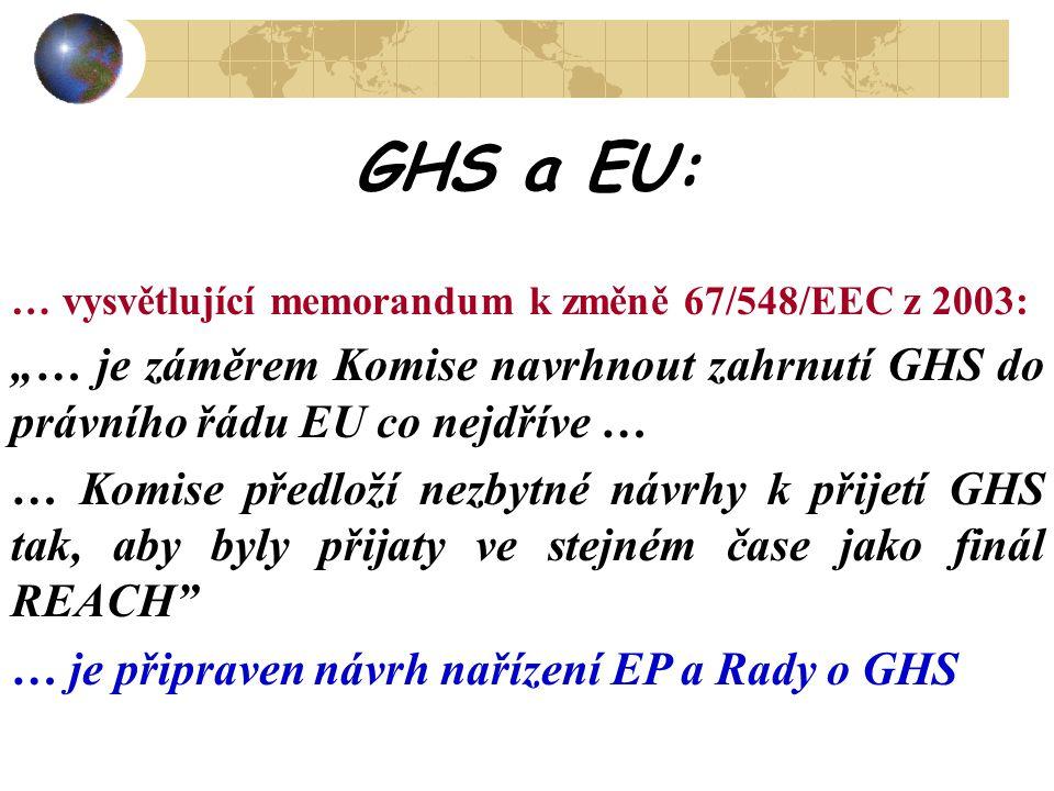 """GHS a EU: … vysvětlující memorandum k změně 67/548/EEC z 2003: """"… je záměrem Komise navrhnout zahrnutí GHS do právního řádu EU co nejdříve … … Komise"""
