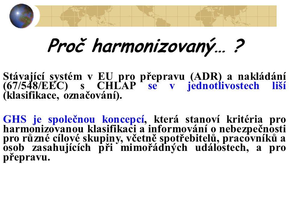 Proč harmonizovaný… ? Stávající systém v EU pro přepravu (ADR) a nakládání (67/548/EEC) s CHLAP se v jednotlivostech liší (klasifikace, označování). G